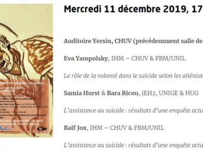 """Séminaire : """"L'assistance au suicide : résultats d'une enquête actuelle du CHUV et des HUG"""""""